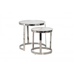 Комплект журнальных столов Vetro Mebel CI-1 Белый мрамор/cеребро