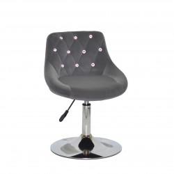Крісло із стразами Onder Mebli Foro+SV СН- Base Оксамит Сірий B-1004