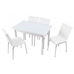Обеденный комплект белый без рисунка Лотос-М