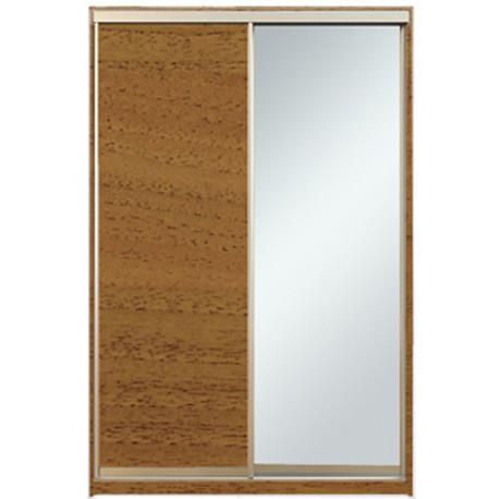 Шкаф-купе Алекса 220х45x200 Орех лесной фасады ДСП+Зеркало профиль Серебро
