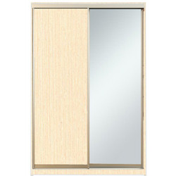 Шкаф-купе Алекса 220х45x160 Венге светлый фасады ДСП+Зеркало профиль Серебро