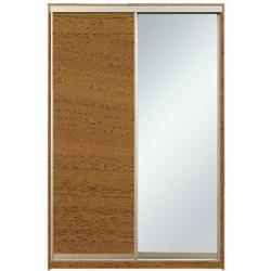 Шкаф-купе Алекса 220х45x160 Орех лесной светлый фасады ДСП+Зеркало профиль Серебро