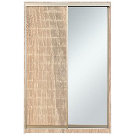 Шкаф-купе Алекса 220х45x150 Дуб сонома фасады ДСП+Зеркало профиль Серебро