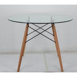 Стол Onder Mebli LUI G-80 Прозрачный/бук