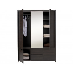 Шкаф с зеркалом в спальню BRW Каспиан SZF 5D2S Венге
