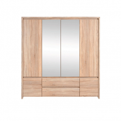 Шкаф с зеркалом в спальню BRW Каспиан SZF 6D2S Сонома
