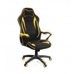 Кресло геймерское тканевое Кронум PL TILT черно-желтый А-класс