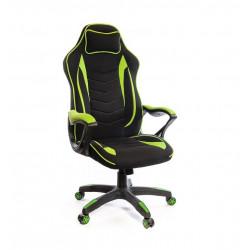 Кресло геймерское тканевое Кронум PL TILT черно-салатовый А-класс
