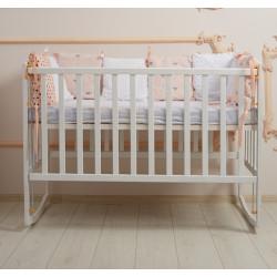 Кроватка детская на полозьях с подвижным бортиком Goydalka Ameli 1В29-1,2,4 Белая