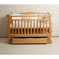 Ліжечко для новонародженого з маятником та шухлядою Goydalka Natali 1В34-2 Бук