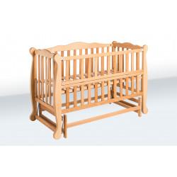 Ліжечко для новонародженого з відкидною стінкою і маятником Goydalka Natali 1В36-2 Бук