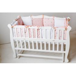 Кроватка для новорожденного с откидной стенкой и маятником Goydalka Natali 1В37-7-1,2,3 Белая