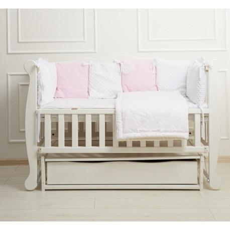 Кроватка для новорожденного с ящиком и маятником Goydalka Natali 1В310-7-1,2,3 Белая