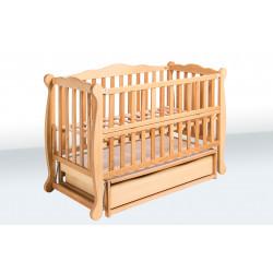 Кроватка для новорожденного с ящиком и маятником Goydalka Natali 1В39-2 Бук
