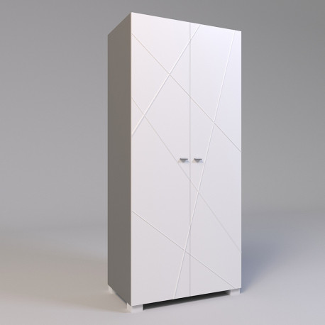 Шкаф двухдверный Х-02 белый матовый Х-Скаут Санти Мебель
