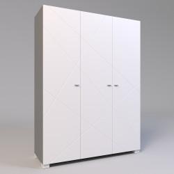 Шкаф трехстворчатый Х-27 белый матовый Х-Скаут Санти Мебель