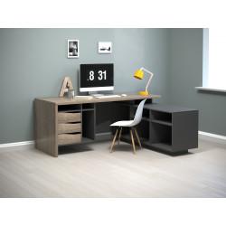 Стол письменный с тумбой Connect 1 дуб трюфель/антрацит Intarsio