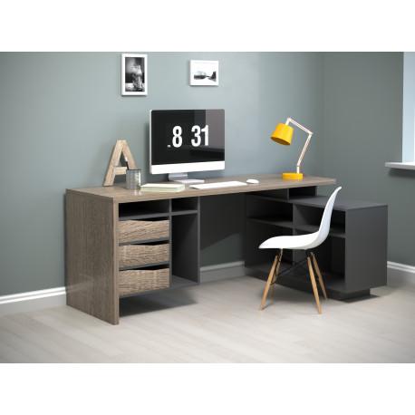 Стол письменный с тумбой Connect 2 дуб трюфель/антрацит Intarsio