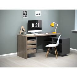Стол письменный с тумбой Connect 3 дуб трюфель/антрацит Intarsio