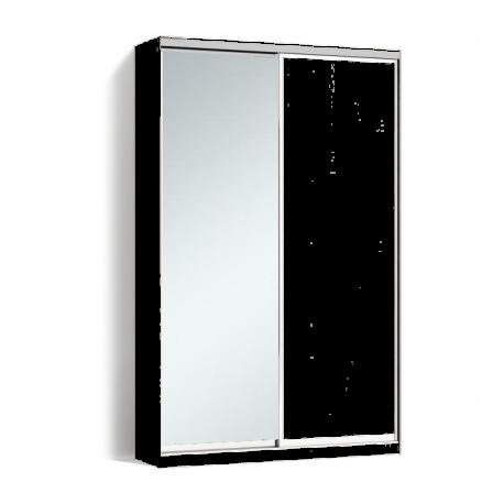 Шкаф-купе Алекса-Д 240х45x120 Белый фасады ДСП+Зеркало профиль Серебро