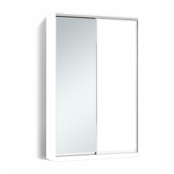 Шкаф-купе Алекса-Д 240х45x130 Белый фасады ДСП+Зеркало профиль Серебро