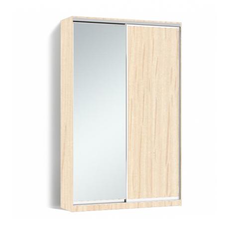 Шкаф-купе Алекса-Д 240х45x130 Дуб молочный фасады ДСП+Зеркало профиль Серебро
