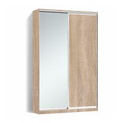 Шкаф-купе Алекса-Д 240х45x130 Дуб сонома фасады ДСП+Зеркало профиль Серебро