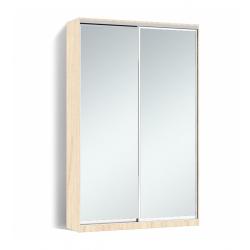 Шкаф-купе Алекса-Д 240х45x130 Дуб молочный фасады Зеркало профиль Серебро