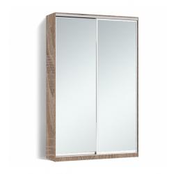 Шкаф-купе Алекса-Д 240х45x130 Дуб трюфель фасады Зеркало профиль Серебро