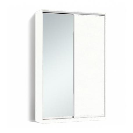 Шкаф-купе Алекса-Д 240х45x140 Белый фасады ДСП+Зеркало профиль Серебро