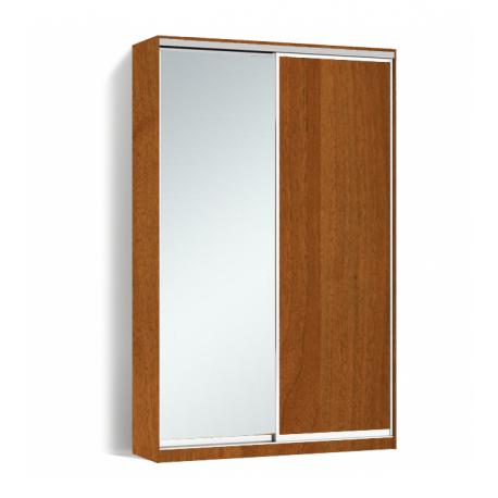 Шкаф-купе Алекса-Д 240х45x140 Орех лесной фасады ДСП+Зеркало профиль Серебро