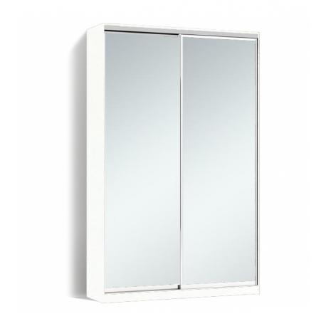 Шкаф-купе Алекса-Д 240х45x140 Белый фасады Зеркало профиль Серебро