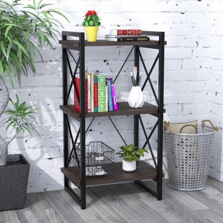 Стеллаж Скиф-3-550 черный металл Loft Design