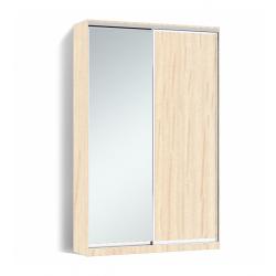 Шкаф-купе Алекса-Д 240х45x150 Дуб молочный фасады ДСП+Зеркало профиль Серебро