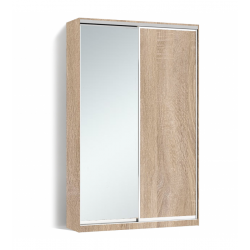 Шкаф-купе Алекса-Д 240х45x150 Дуб сонома фасады ДСП+Зеркало профиль Серебро