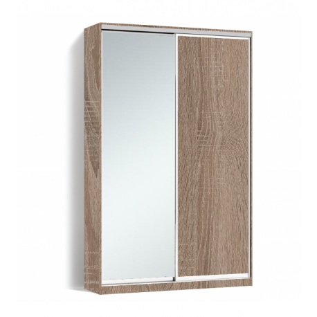 Шкаф-купе Алекса-Д 240х45x150 Дуб трюфель фасады ДСП+Зеркало профиль Серебро