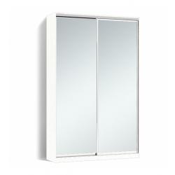 Шкаф-купе Алекса-Д 240х45x150 Белый фасады Зеркало профиль Серебро