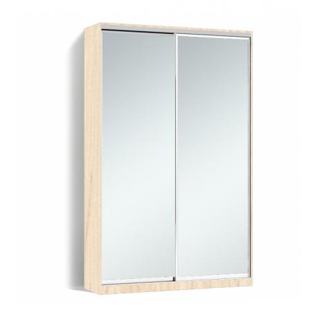 Шкаф-купе Алекса-Д 240х45x150 Дуб молочный фасады Зеркало профиль Серебро