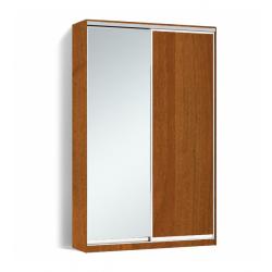 Шкаф-купе Алекса-Д 240х45x160 Орех лесной фасады ДСП+Зеркало профиль Серебро