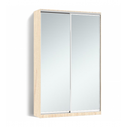 Шкаф-купе Алекса-Д 240х45x160 Дуб молочный фасады Зеркало профиль Серебро