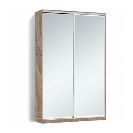 Шкаф-купе Алекса-Д 240х45x160 Дуб трюфель фасады Зеркало профиль Серебро