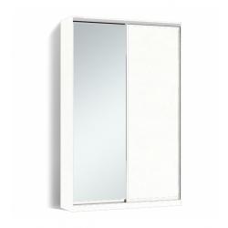 Шкаф-купе Алекса-Д 240х45x170 Белый фасады ДСП+Зеркало профиль Серебро