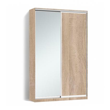 Шкаф-купе Алекса-Д 240х45x170 Дуб сонома фасады ДСП+Зеркало профиль Серебро