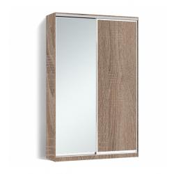 Шкаф-купе Алекса-Д 240х45x170 Дуб трюфель фасады ДСП+Зеркало профиль Серебро