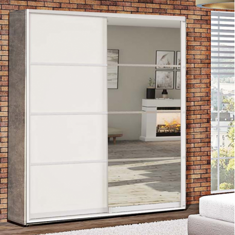 Шкаф-купе ДСП+Зеркало из 4-х Стандарт 210/240х45х180 Комфорт-мебель