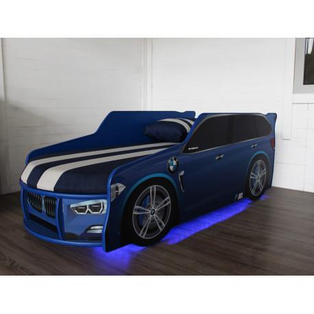Кровать с подсветкой и подъемным механизмом+матрас Viorina-Deko Premium BMW Р002 Синий