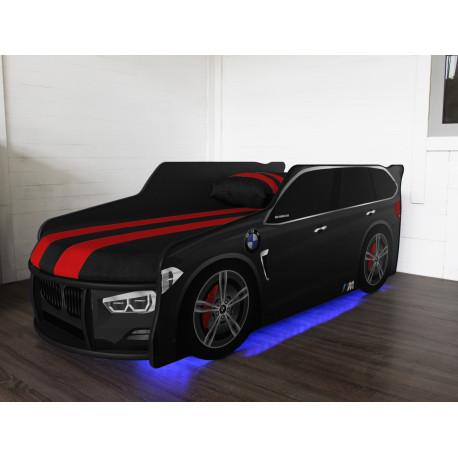 Кровать с подсветкой и подъемным механизмом+матрас Viorina-Deko Premium BMW Р002 Черный