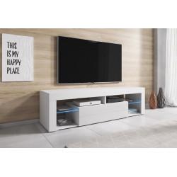 Тумба под ТВ с подсветкой Hugo белый/белый глянец GF Furniture