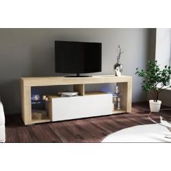 Тумба с подсветкой под ТВ Hugo дуб сонома/белый глянец GF Furniture