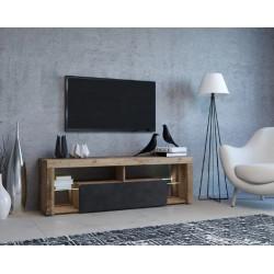 Тумба с подсветкой под ТВ Hugo олд стайл светлый/антрацит GF Furniture